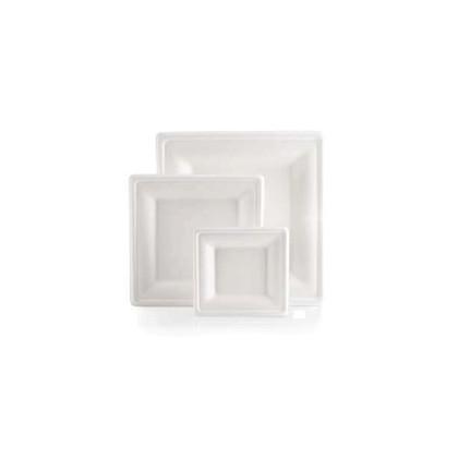 Plato Fibra Carree color blanco 160x160mm 300u. Bio Line
