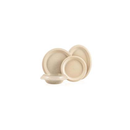 Plato Fibra oval marrón 260 diámetro 500u. Bio Line