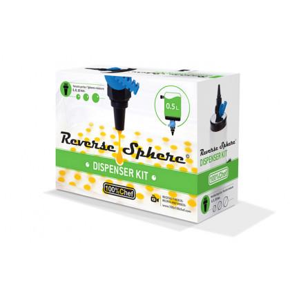 Reverse Sphere kit dispenser (dosificador 0,5l + 3 boquillas Ø/6/8/10mm + cuchara), 100%Chef