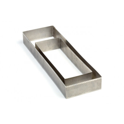 Aro rectangular microperforado de acero inoxidable XF197035 (70x190xh35mm) Progetto Crostate, Pavoni