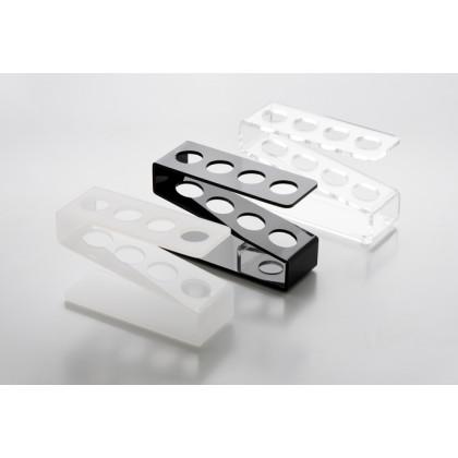 Gradilla de metacrilato para 4 tubos transparente (11x4x6cm), 100%Chef