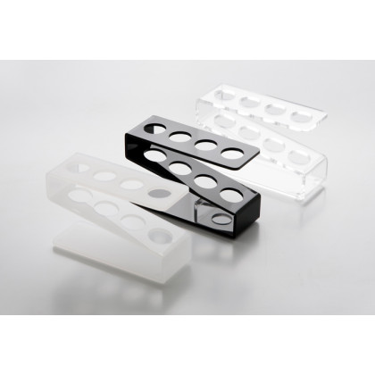Gradilla de metacrilato para 4 tubos negra (11x4x6cm), 100%Chef