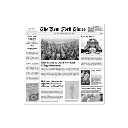 Papel de periódico New Fork Times (30x29cm) - 500 hojas, 100%Chef