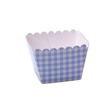 Caja palomitas mini azul (60x60x40mm) - 100 unidades, 100%Chef