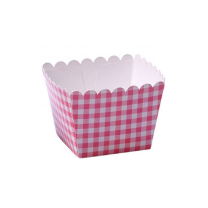 Caja palomitas mini rosa (60x60x40mm) - 100 unidades, 100%Chef