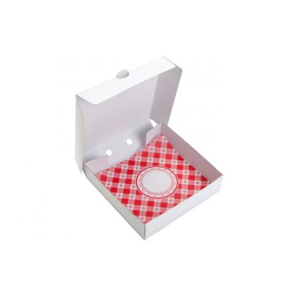 Maxi Pizza Box con mantel (11x11x2cm) - 100 unidades, 100%Chef