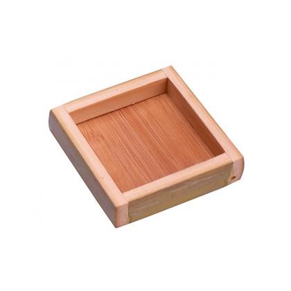 Plato cuadrado bambú (55x55xh10mm) - 10 unidades, 100%Chef