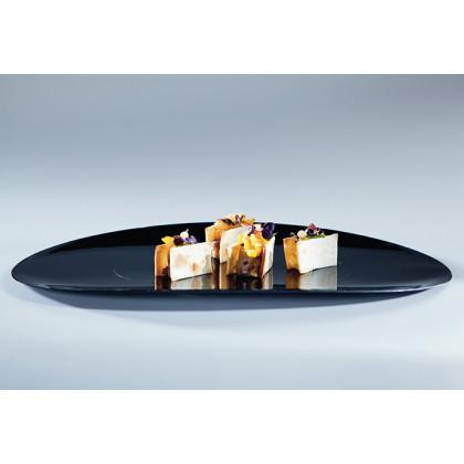 Bandeja oval degustación Sphera negro (34x20,9x1,9cm) - 12 unidades, 100%Chef