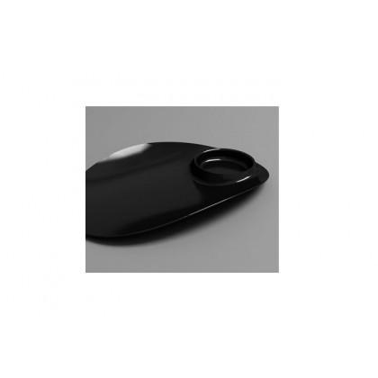 Plato individual degustación Sphera negro (104x160x18mm) - 40 unidades, 100%Chef
