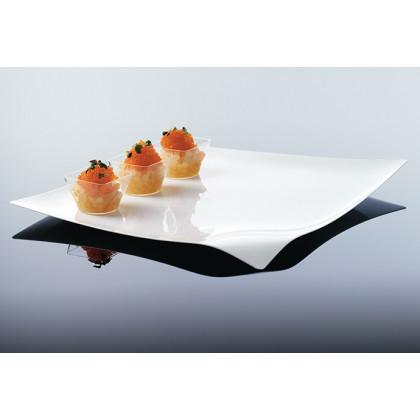 Bandeja cuadrada degustación Hola blanca (280x280xh15mm) - 12 unidades, 100%Chef