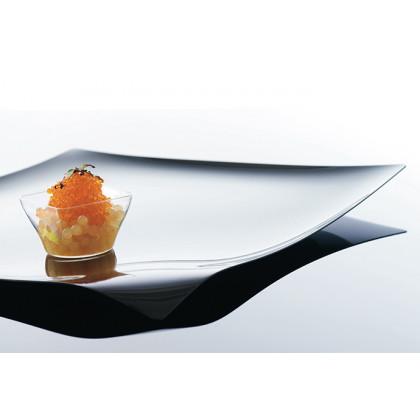 Bandeja cuadrada degustación Hola negra (280x280xh15mm) - 12 unidades, 100%Chef