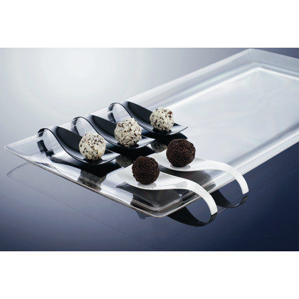 Bandeja rectangular degustación Hola negra (480x240xh17mm) - 6 unidades, 100%Chef