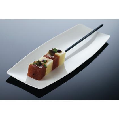 Bandeja individual degustación Hola blanca (200x70xh8mm) - 100 unidades, 100%Chef