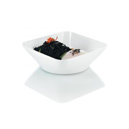 Plato hondo degustación Hola blanco 25cl (107x107x35mm) - 80 unidades, 100%Chef