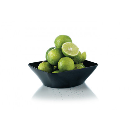 Plato hondo degustación Hola negro 25cl (107x107x35mm) - 80 unidades, 100%Chef