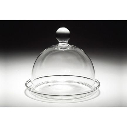 Mini campana de vidrio con plato (Campana: Ø70x50mm / Base: Ø85x10mm), 100%Chef