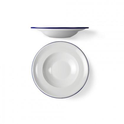 Plato Hondo Peltre Blanco/Azul Ø26