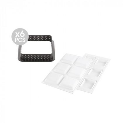 Kit molde para tarta cuadrado 80x80mm, Silikomart
