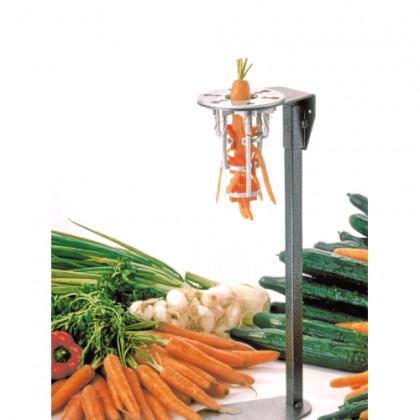 Pelador de zanahorias grandes sobre pie inox con pulsador