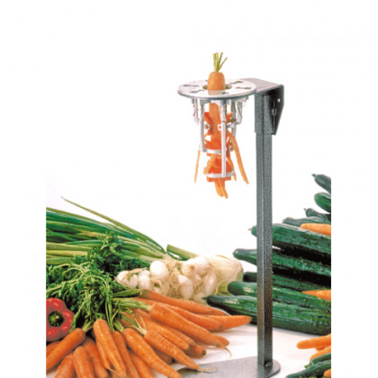 Pelador de zanahorias sobre pie epoxy con pulsador