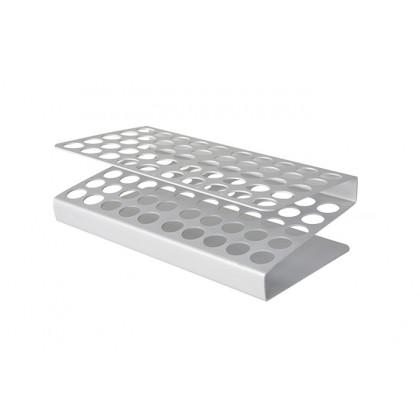 Gradilla de aluminio para 50 tubos (22x12x7cm), 100%Chef