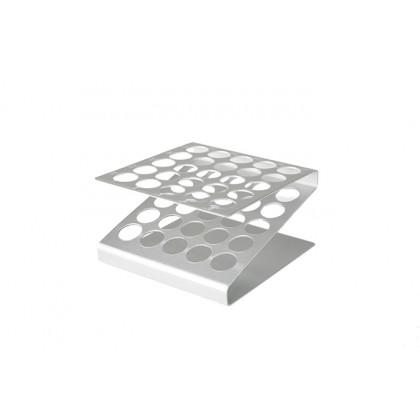 Gradilla de aluminio para 25 tubos (120x120xh60mm), 100%Chef
