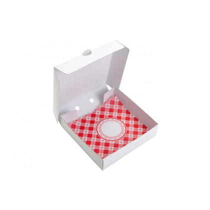 Maxi Pizza Box con mantel (11x11x2cm), 100%Chef - 100 unidades