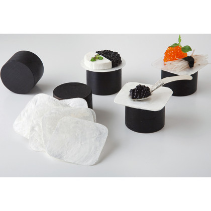 Plato nácar cuadrado (50x50mm), 100%Chef - 100 unidades