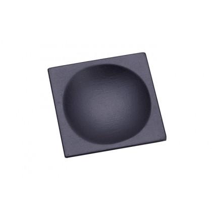 Plato cuadrado lacado negro mate (60x60mm), 100%Chef - 10 unidades