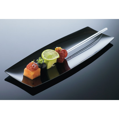 Bandeja individual degustación Hola negra (200x70xh8mm) - 100 unidades, 100%Chef