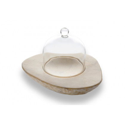 Soporte de mármol Faraón amarillo con campana (17x15x3cm), 100%Chef