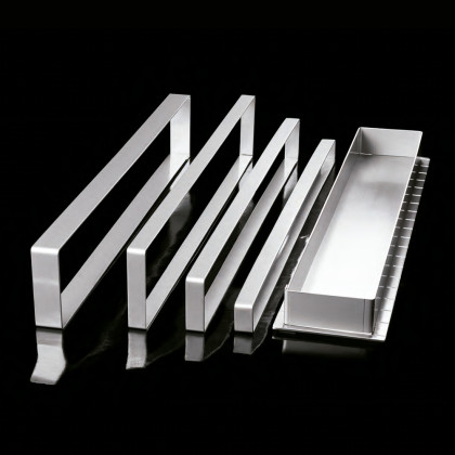 Aro rectangular de acero inoxidable X12 (577x60h20mm) Adaptable, Pavoni