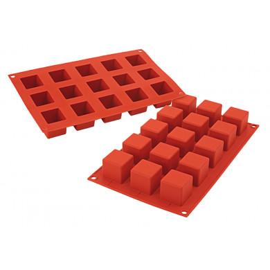 Molde de silicona SF105 Cubo 35x35h35mm (15 porciones) SiliconFlex, Silikomart