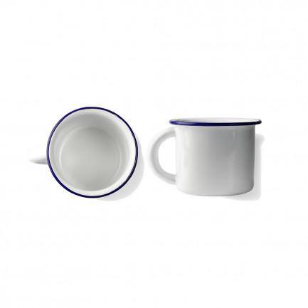 Taza Peltre Blanco/Azul Ø8