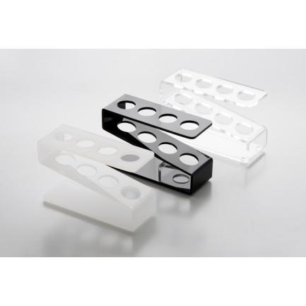 Gradilla de metacrilato para 4 tubos blanca (11x4x6cm), 100%Chef