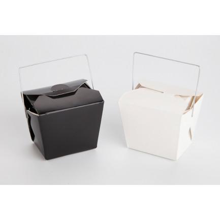 Noodle Box XL blanca con asa metálica (8x6x7cm), 100%Chef - 100 unidades