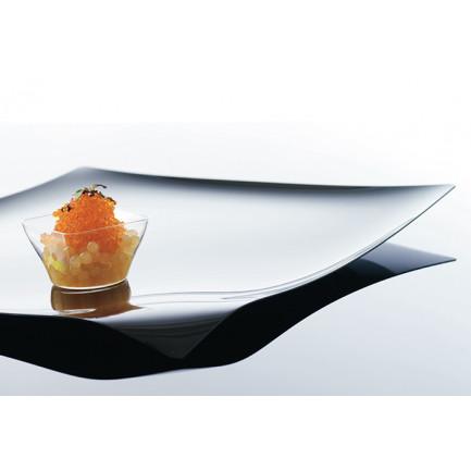 Bandeja cuadrada degustación Hola transparente (280x280xh15mm), 100%Chef - 12 unidades